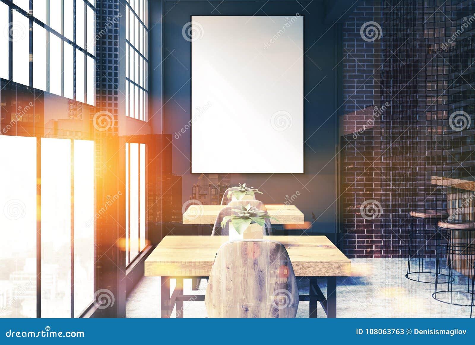 Black And Brick Bar Interior Poster Close Up Toned Stock ...
