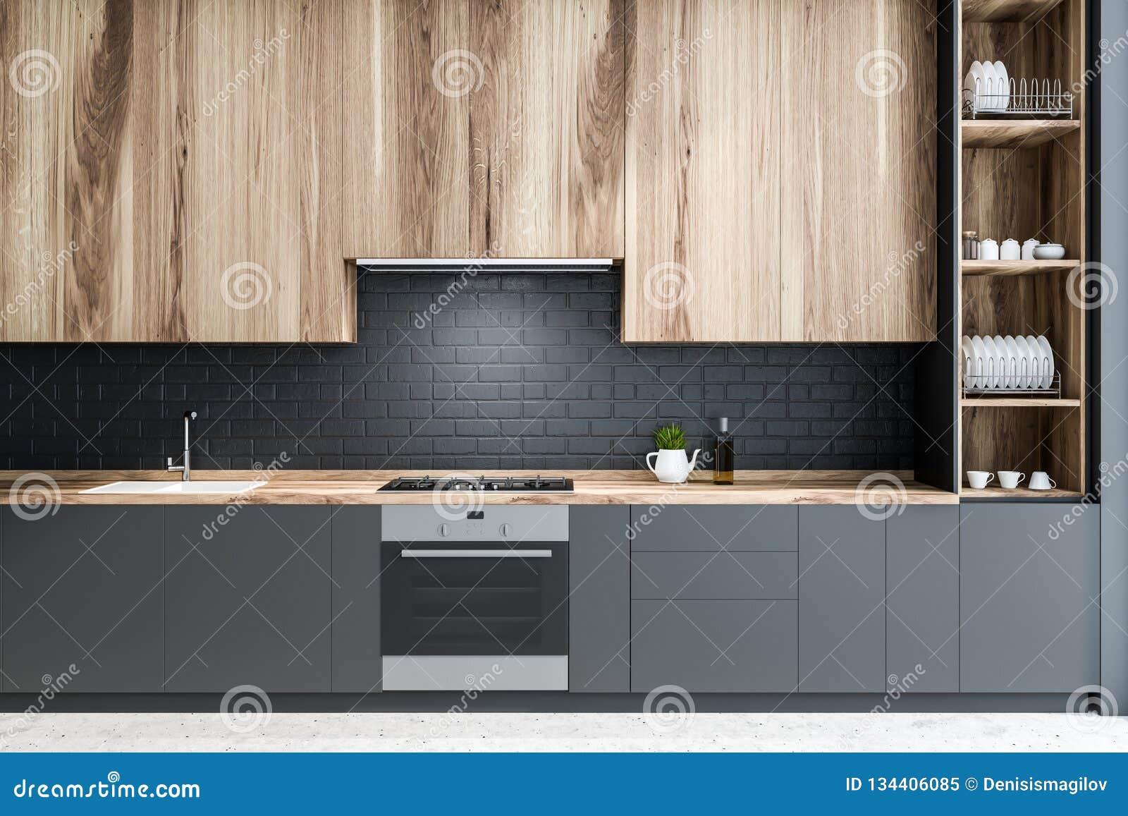 Black Brick Kitchen Wooden Countertops Stock Illustration Illustration Of Cabinet Bright 134406085