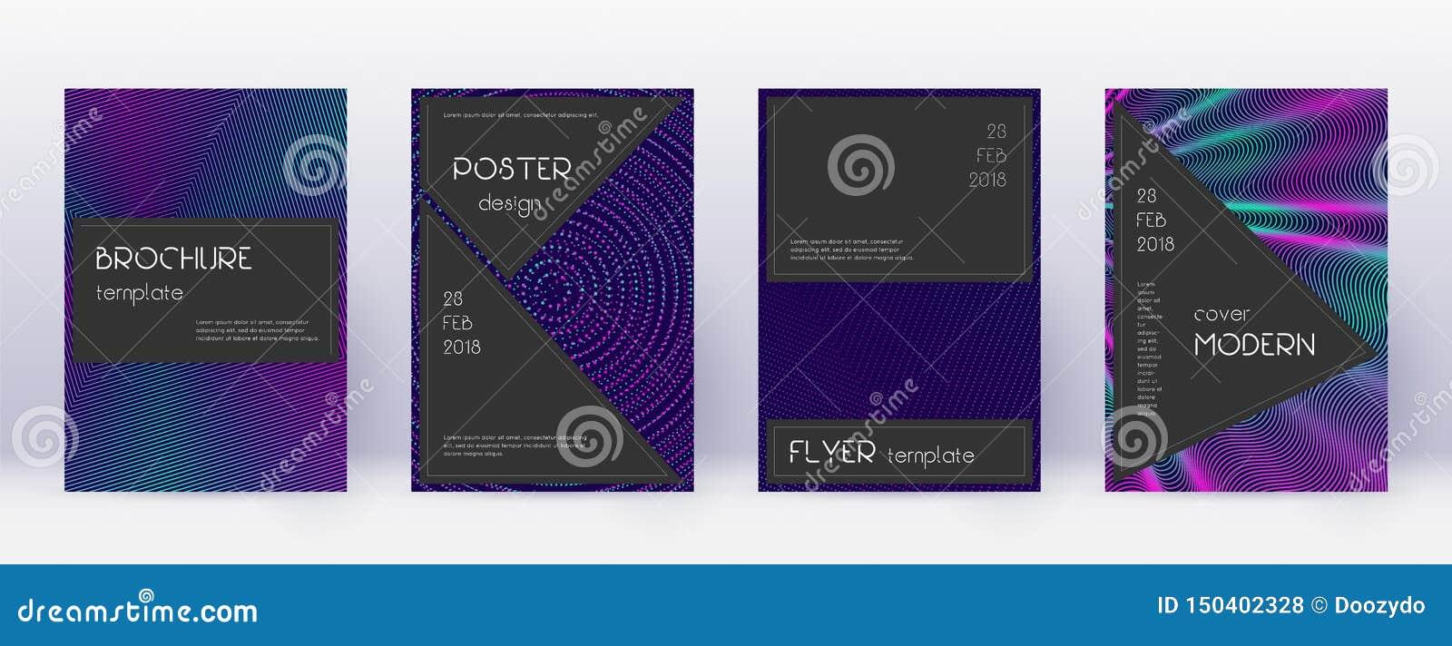 Black brochure design template set. Neon abstract
