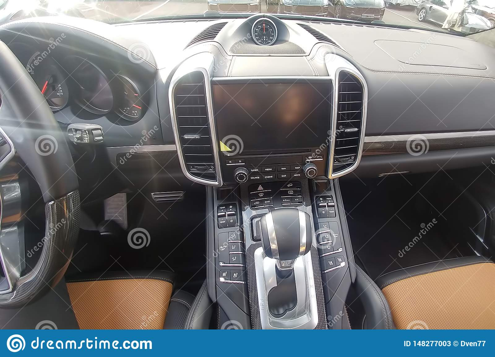 Black And Brown Leather Interior Of Premium Suv Carbon