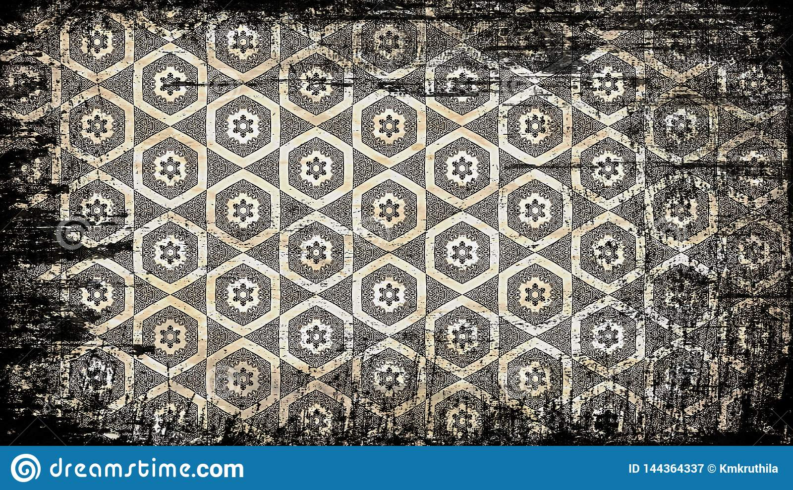 Black And Brown Vintage Grunge Ornament Pattern Wallpaper ...