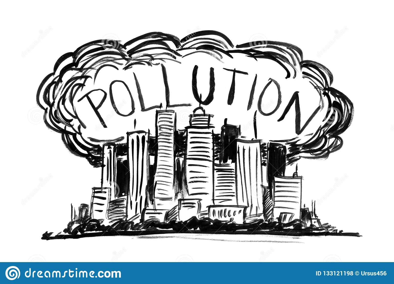 Black brush and ink artistic rough hand drawing of high rise building and smog covering the city environmental concept of toxic and deadly air pollution