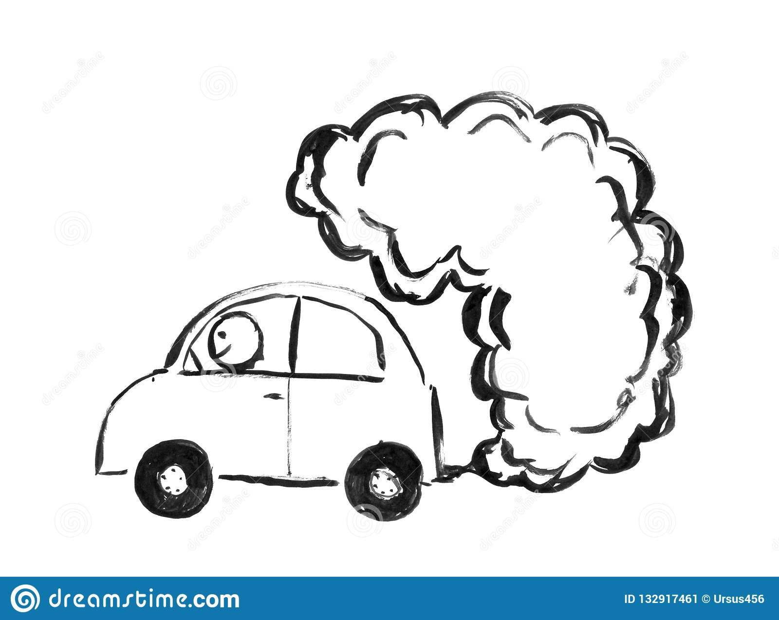 Black brush and ink artistic rough hand drawing of smoke coming from car exhaust into air environmental concept of pollution