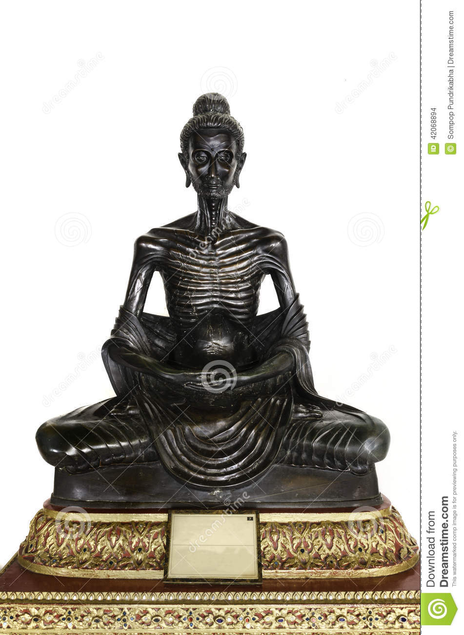 Black Buddha Statue Posture Skinny Stock Photo Image