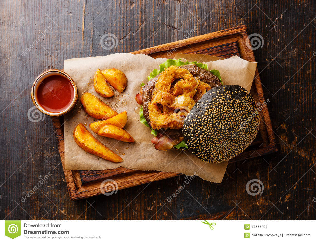 Background Bacon Black Bun Burger Dark Fries Meat Onion Potato