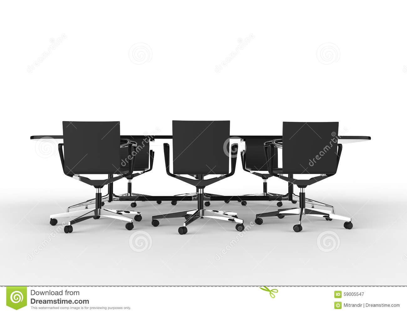 Black Business Meeting Table With Chairs Stock