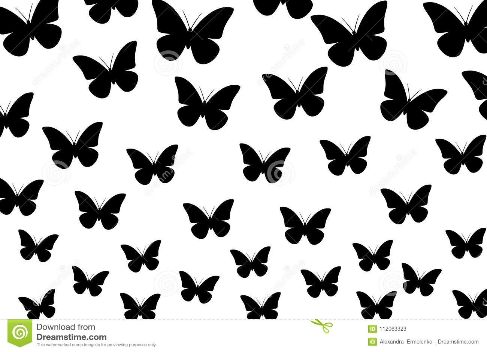 Black Butterflies On White Background Seamless Wallpaper Illustration Vector Stock Illustration Illustration Of Vector Place 112063323