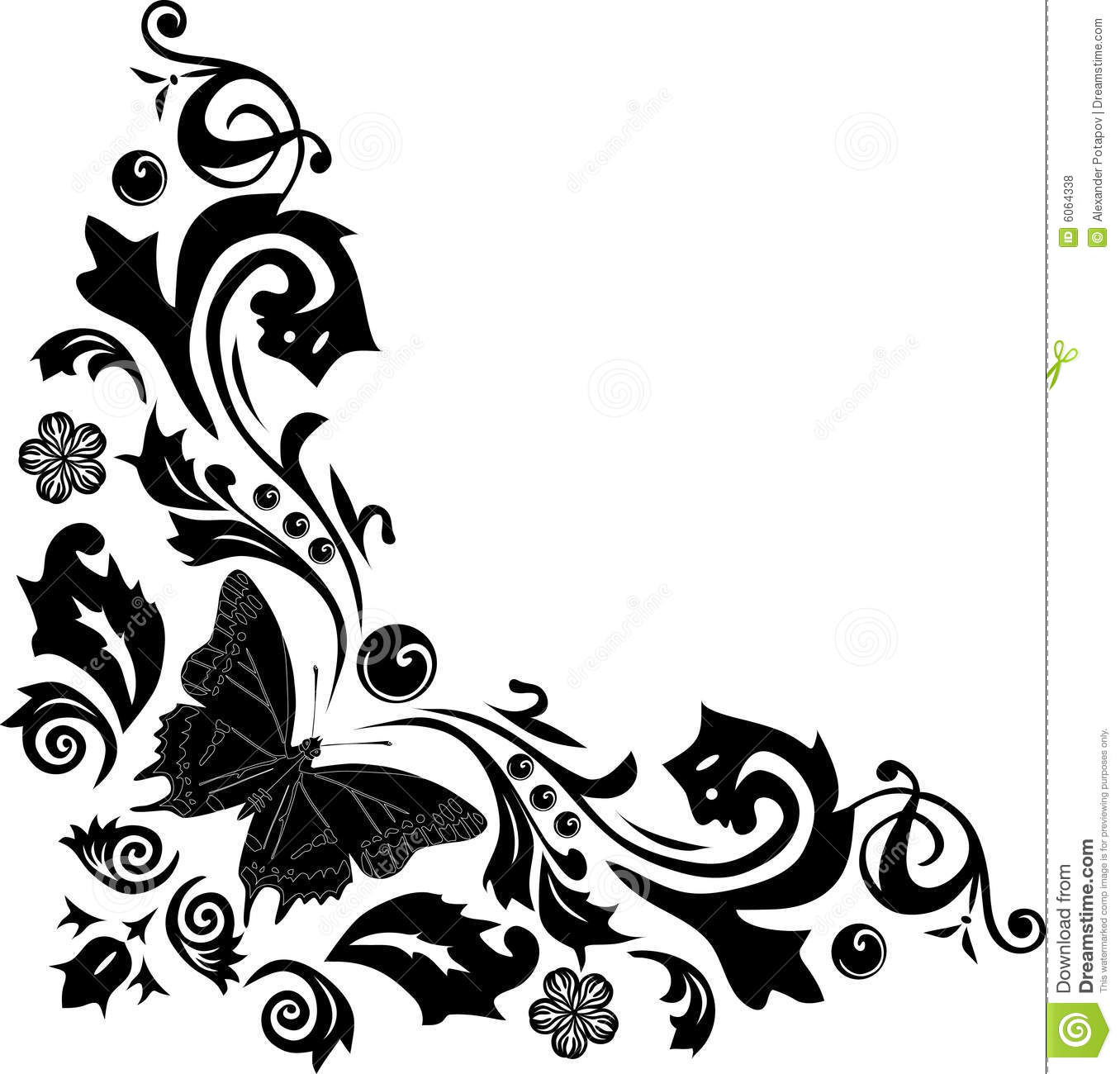 Black Butterfly Corner Decoration Royalty Free Stock