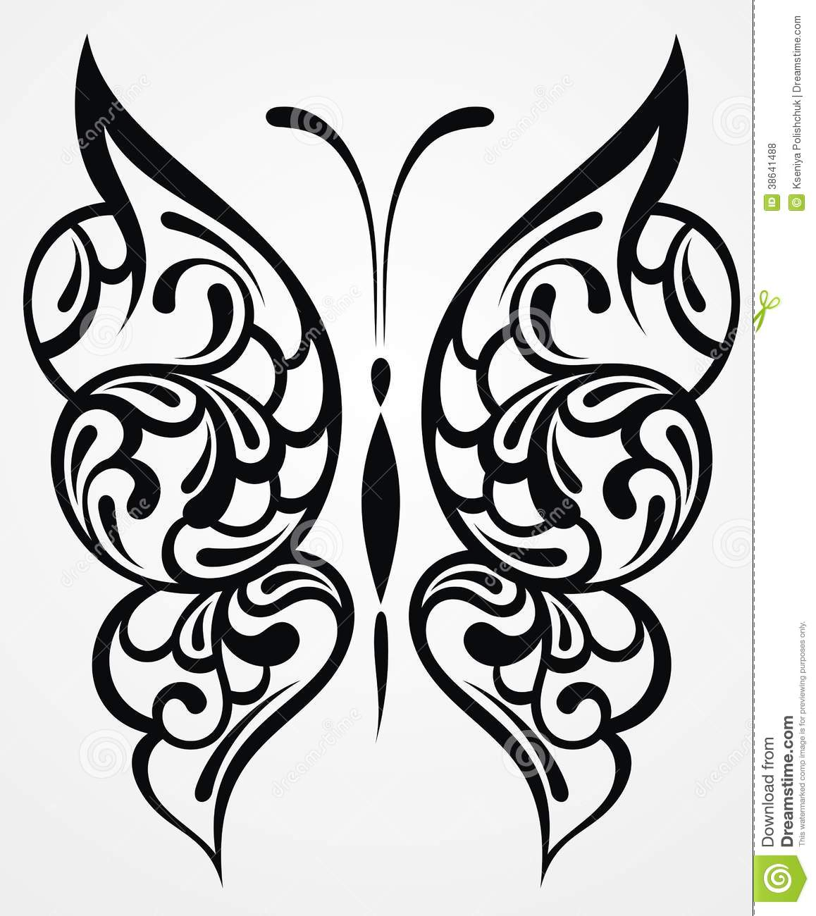 Tattoo Designs White Background: Black Butterfly. Tattoo Design Royalty Free Stock Photos
