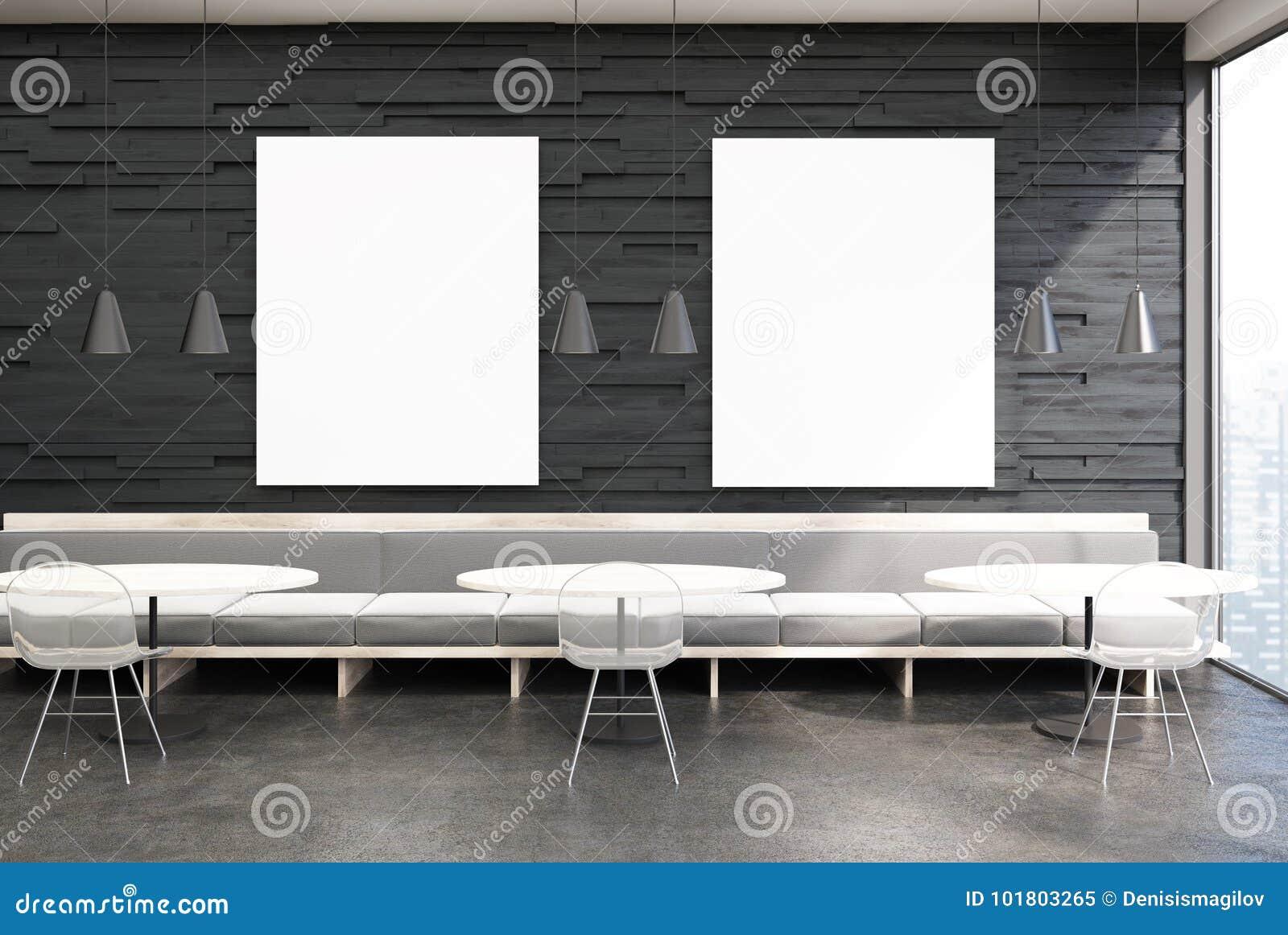 Astonishing Black Cafe Interior Gray Sofas Two Posters Stock Machost Co Dining Chair Design Ideas Machostcouk