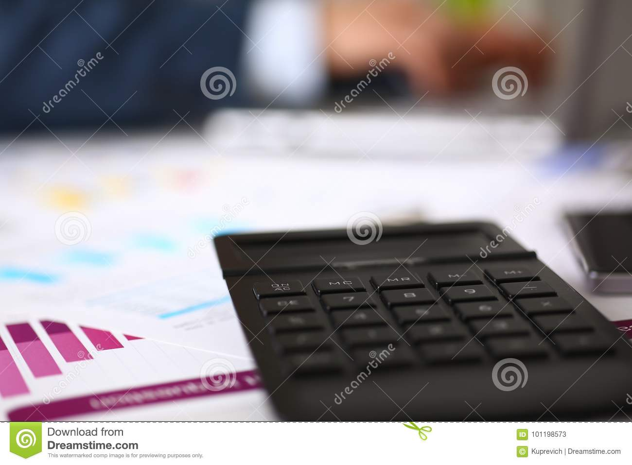 Black Calculator And Financial Statistics On Infographics ...