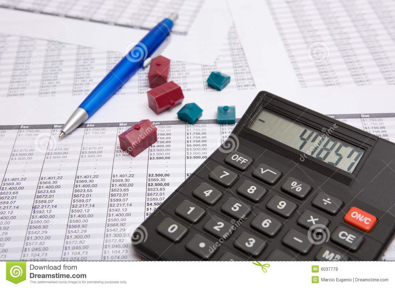 Black calculator pen small house royalty free stock for Building a home calculator