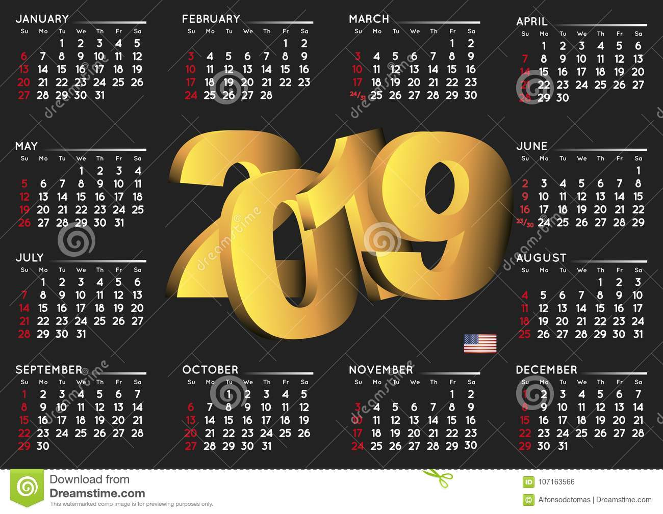 2019 black calendar english horizontal usa