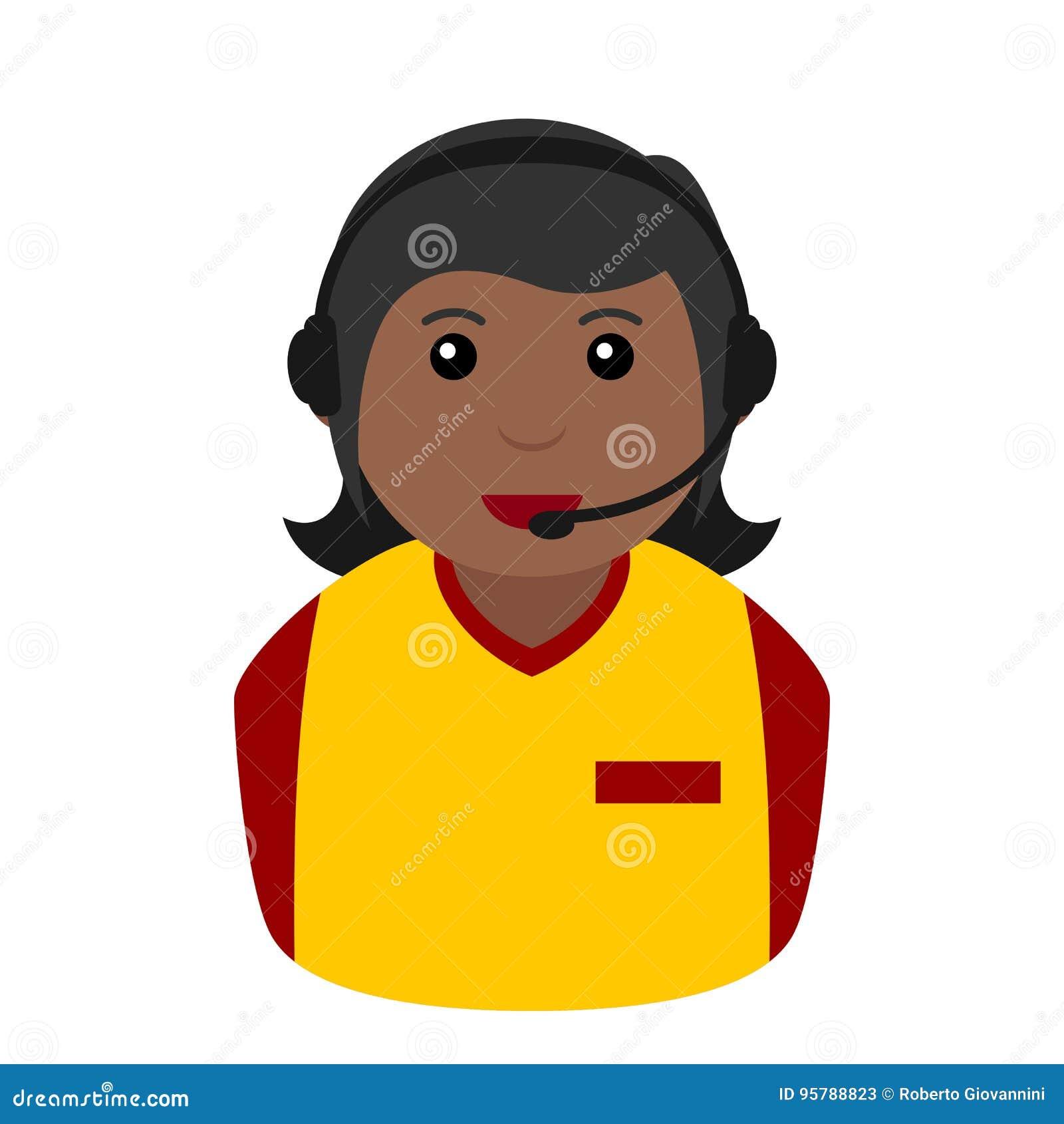 Black Call Center Woman Operator Avatar Stock Vector