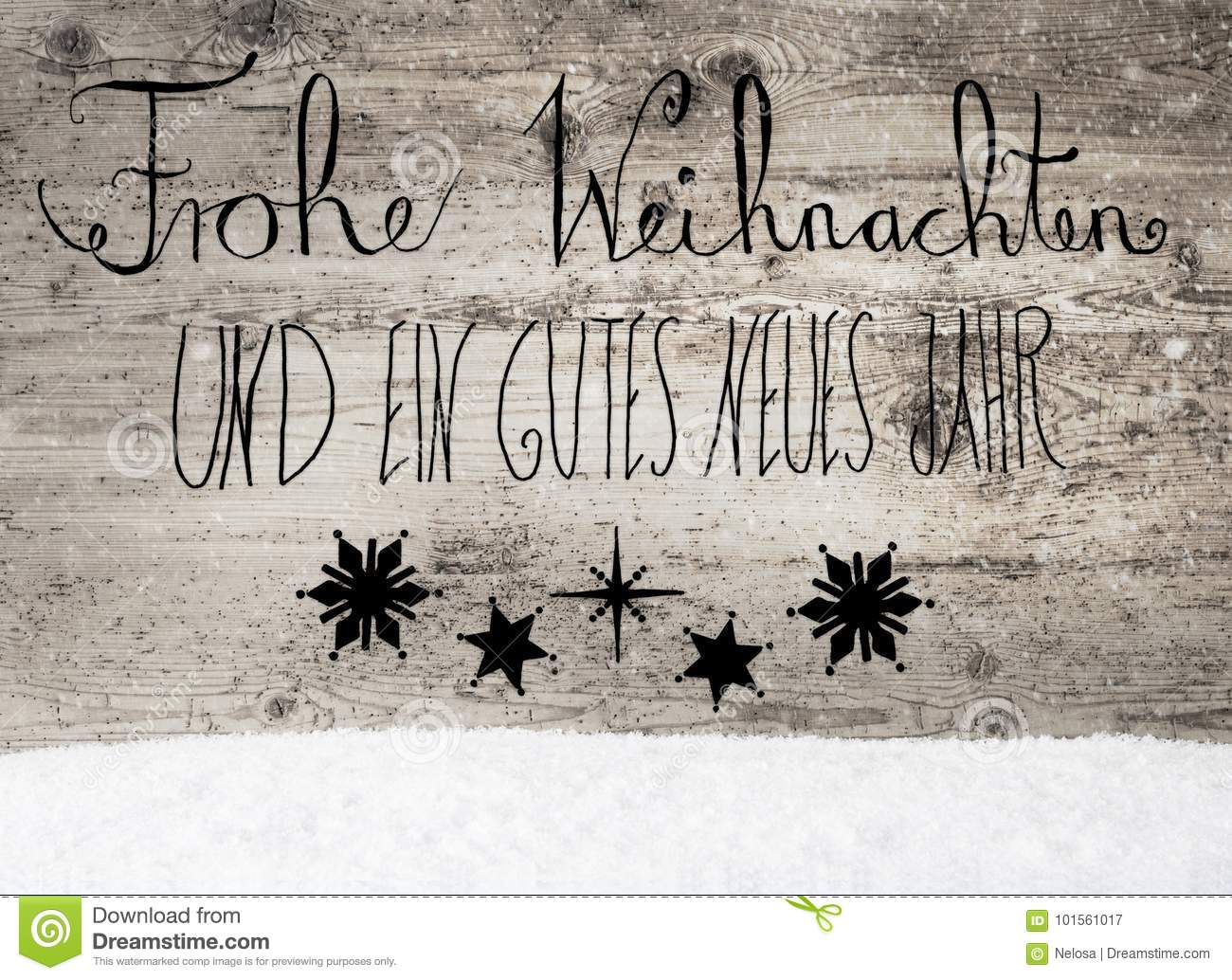 Frohe Weihnachten Und Happy New Year.Black Calligraphy Gutes Neues Means Happy New Year Snow Stock Image