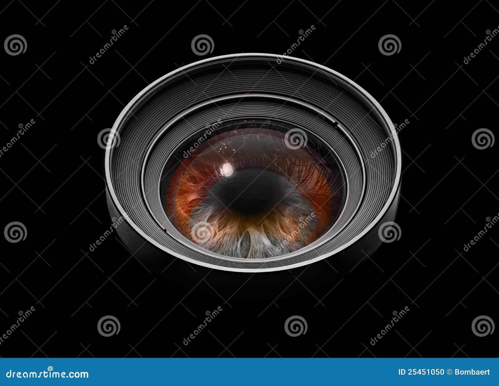 Black camera lens with eye