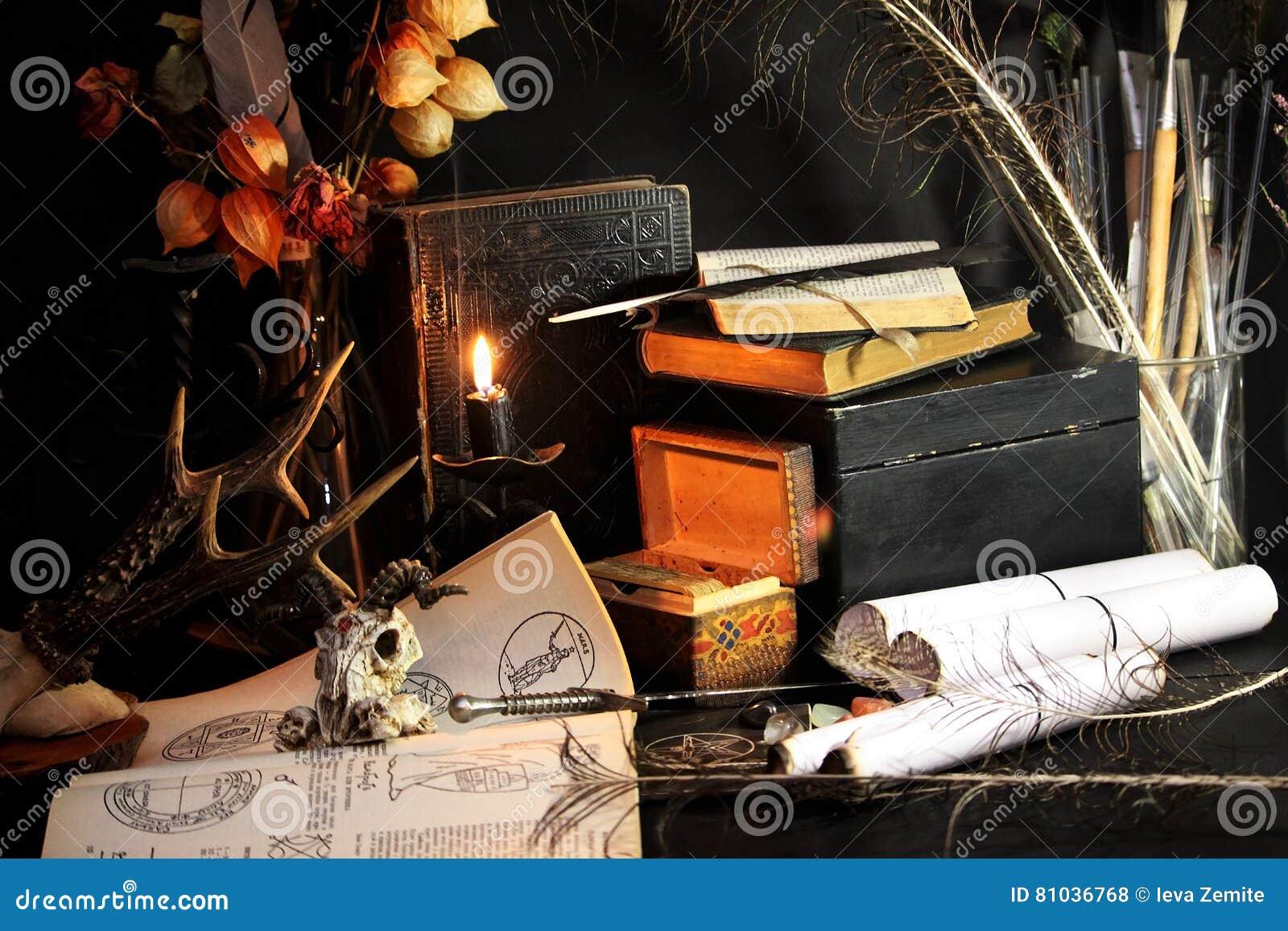 Black candle Magic Ritual stock photo  Image of fear - 81036768