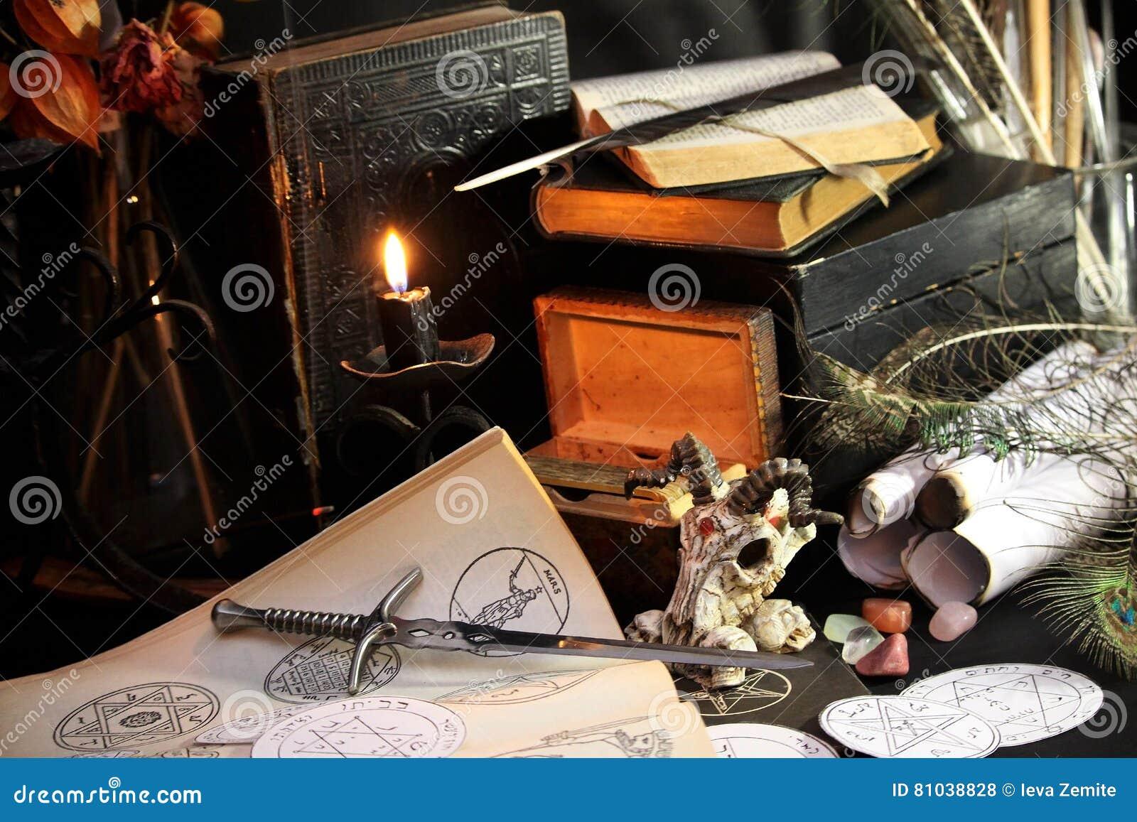 Black candle Magic Ritual stock photo. Image of close ...