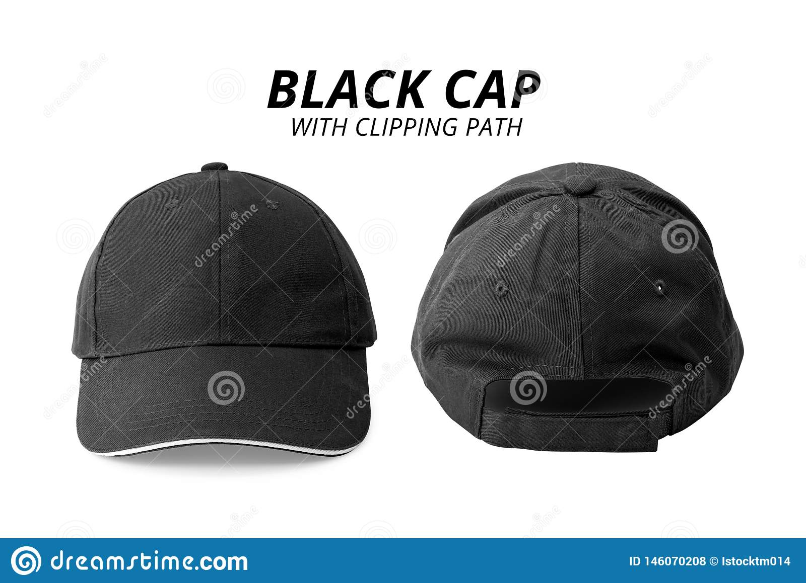 315e55fd Black cap isolated on white background. Template of baseball cap in front  and back view.