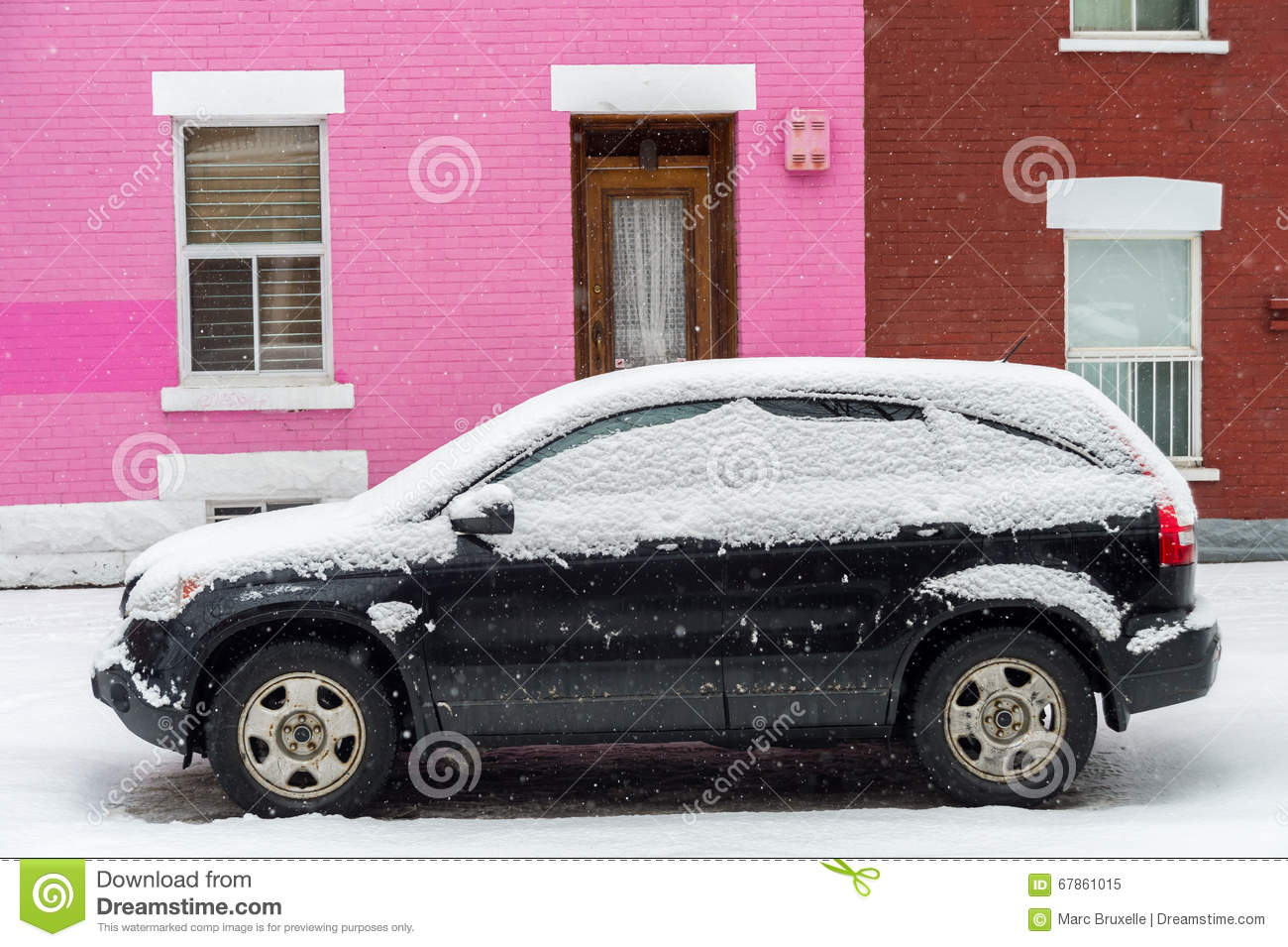 Black Car Covered With Snow In Front Of Pink Traditional House ...
