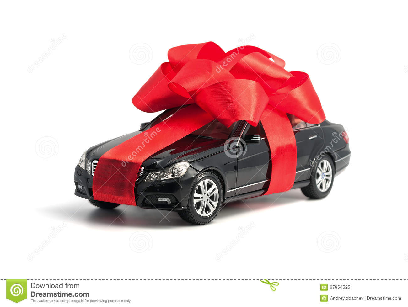 Black Car With Red Bow Stock Photo Image 67854525