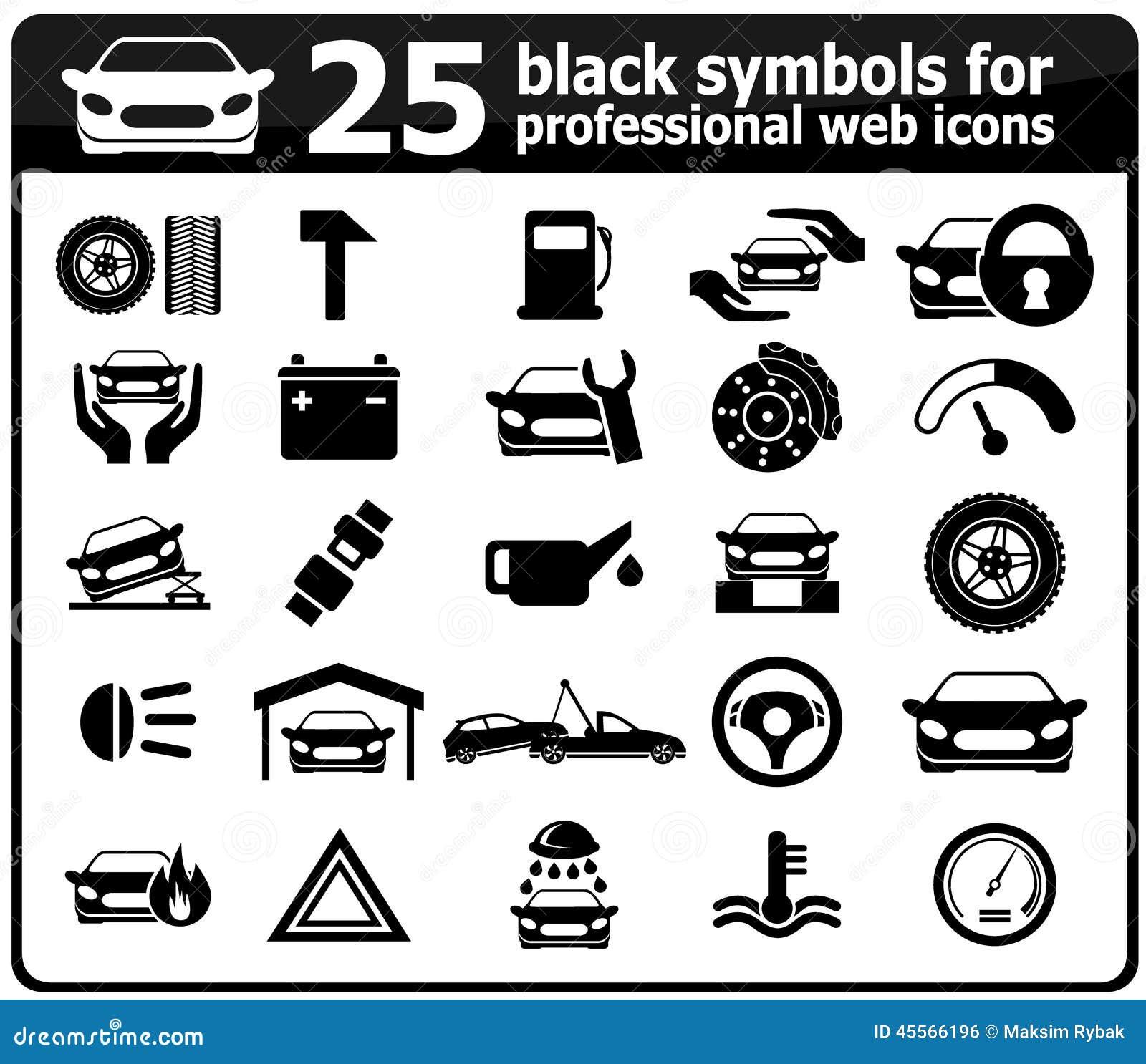 25 black car service icons stock photo image of symbols 45566196 25 black car service icons biocorpaavc Gallery