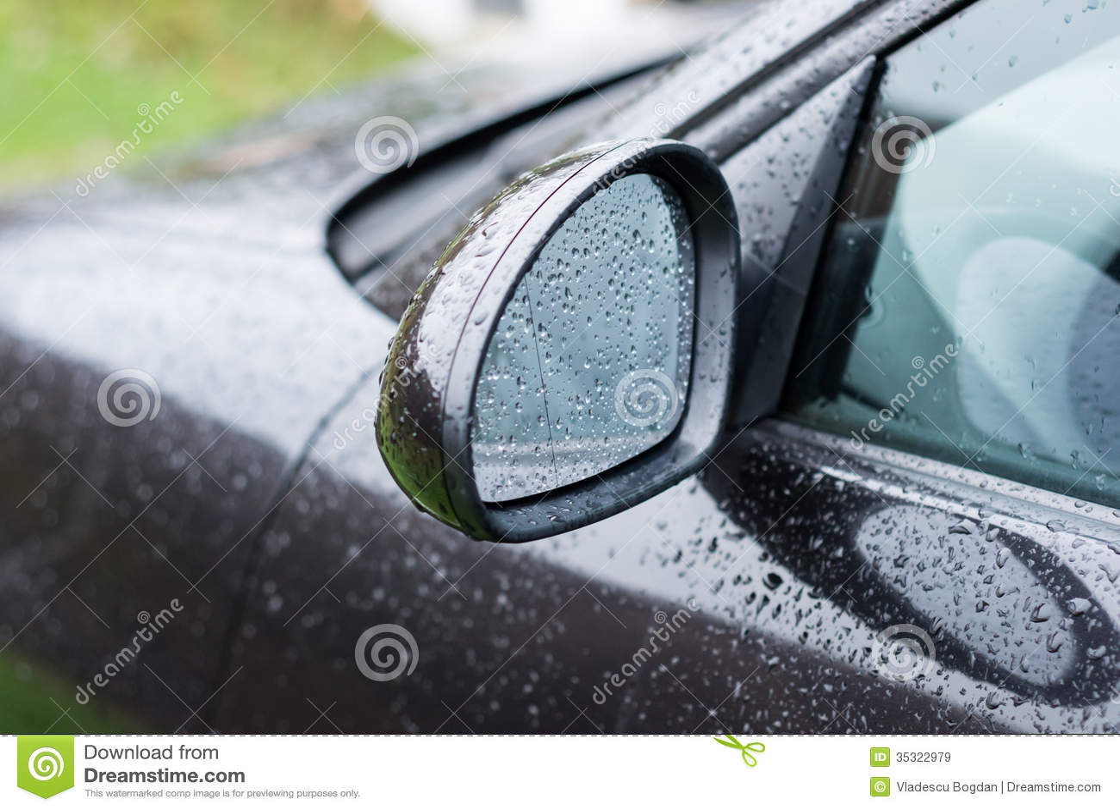 Black car wing mirror