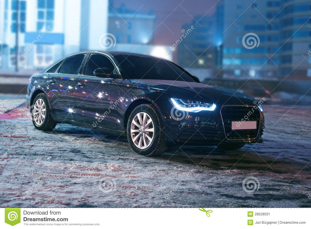 Black car at winter night