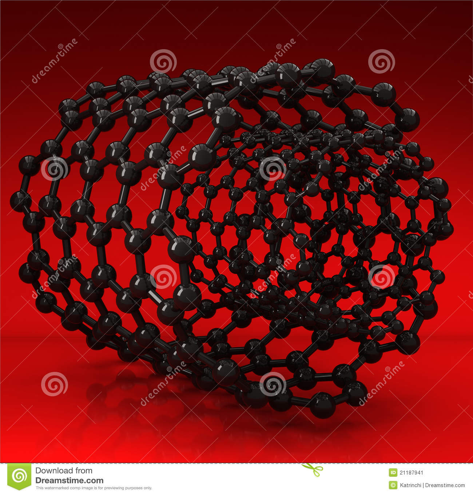 Black carbon nanotubes on red background