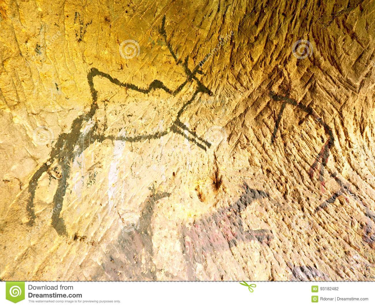 Black Carbon Paint Of Deer On Sandstone Wall, Prehistorical Picture ...