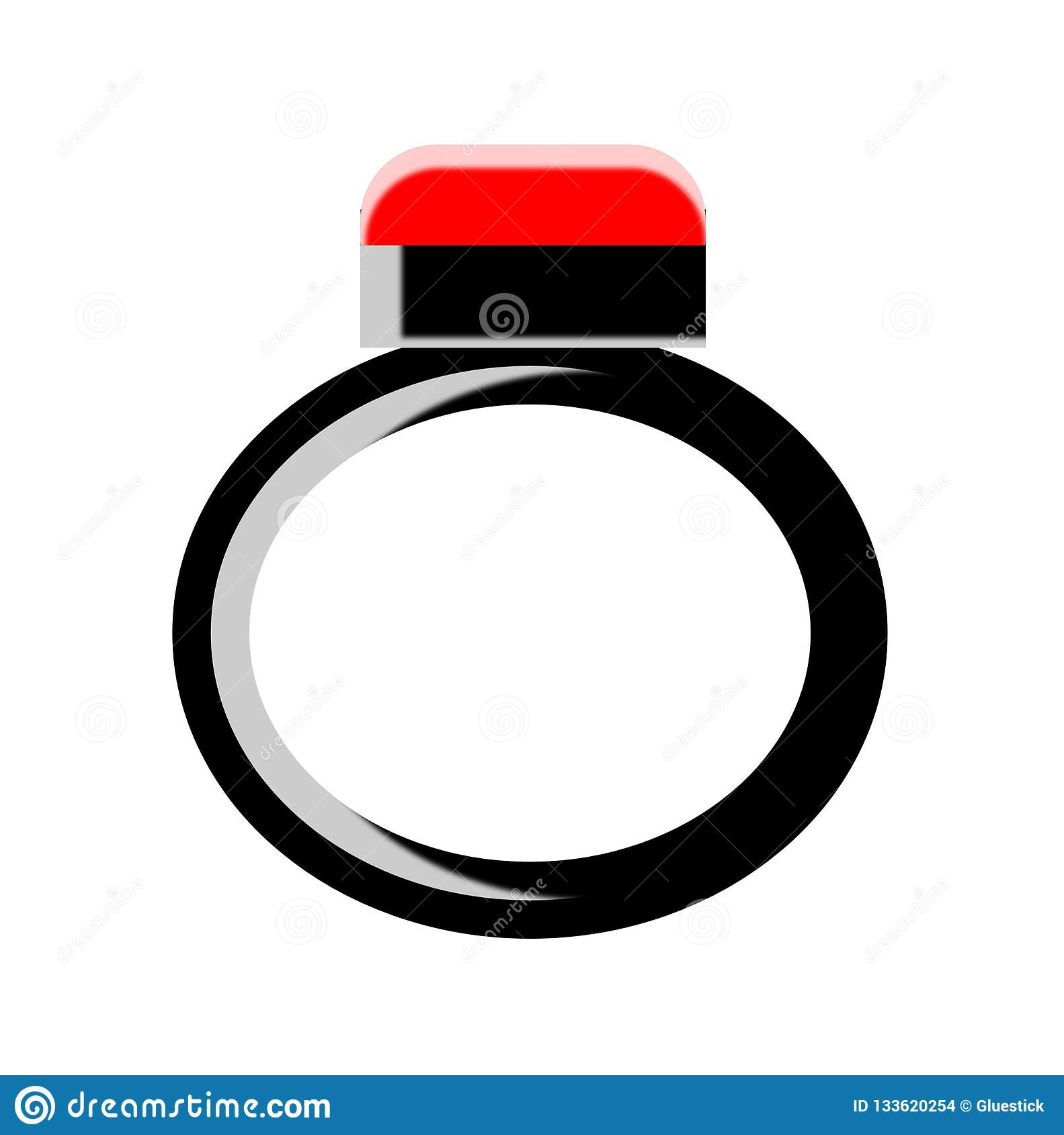 Red Ruby On Black Ring