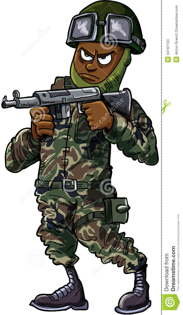 Black Cartoon Soldier With Gun Stock Vector - Illustration