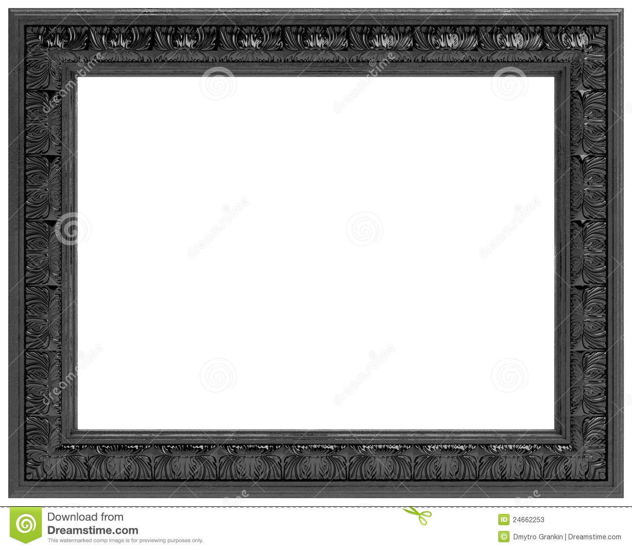 black carved frame for a mirror isolated on white - Mirror With Black Frame