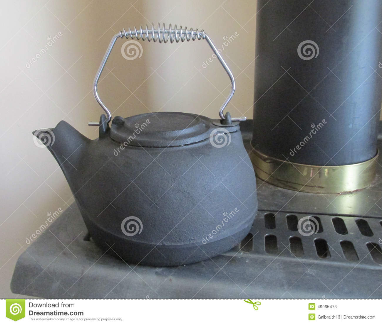 black cast iron kettle