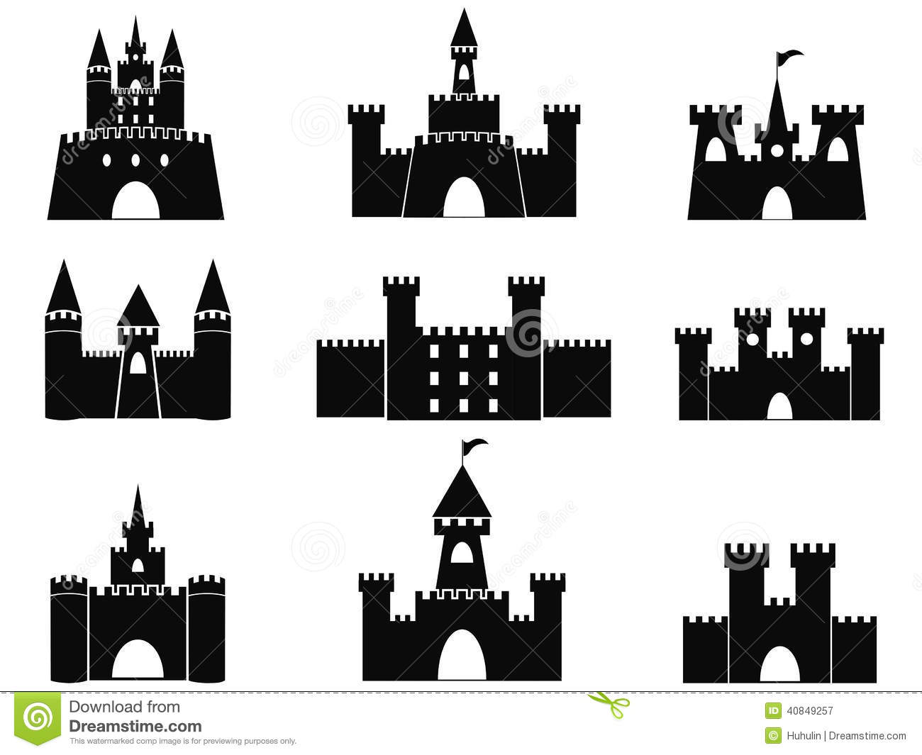 Isolated black castle icons from white background.