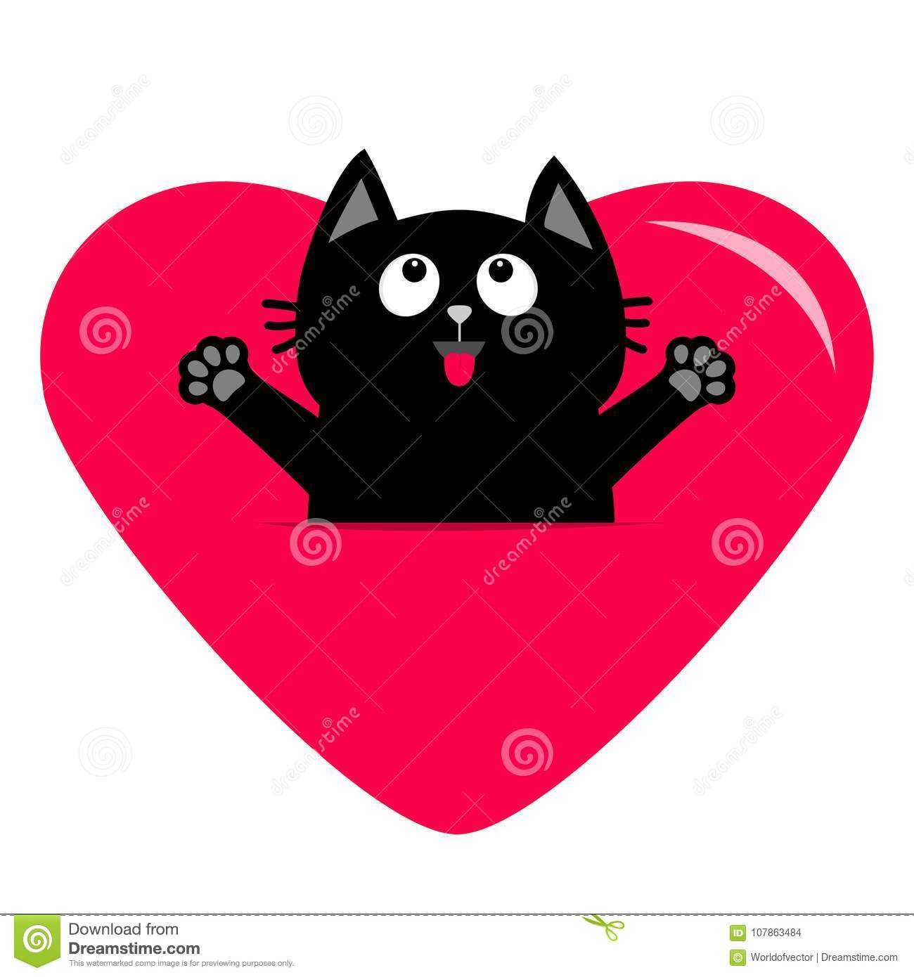 087fd53a9b4 Royalty-Free Vector. Black cat and big heart icon. Cute funny cartoon  character. Happy Valentines day.