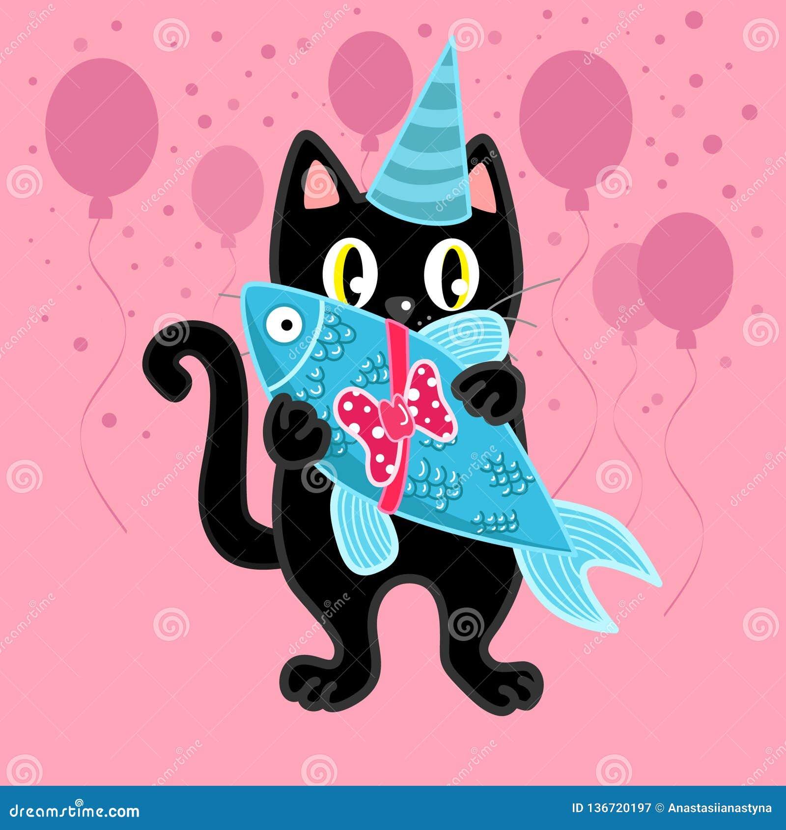 Image result for birthday black cat pink
