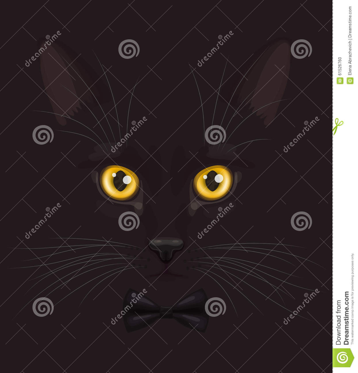 469a191bceaa Black cat with bow-tie stock vector. Illustration of steadfast ...