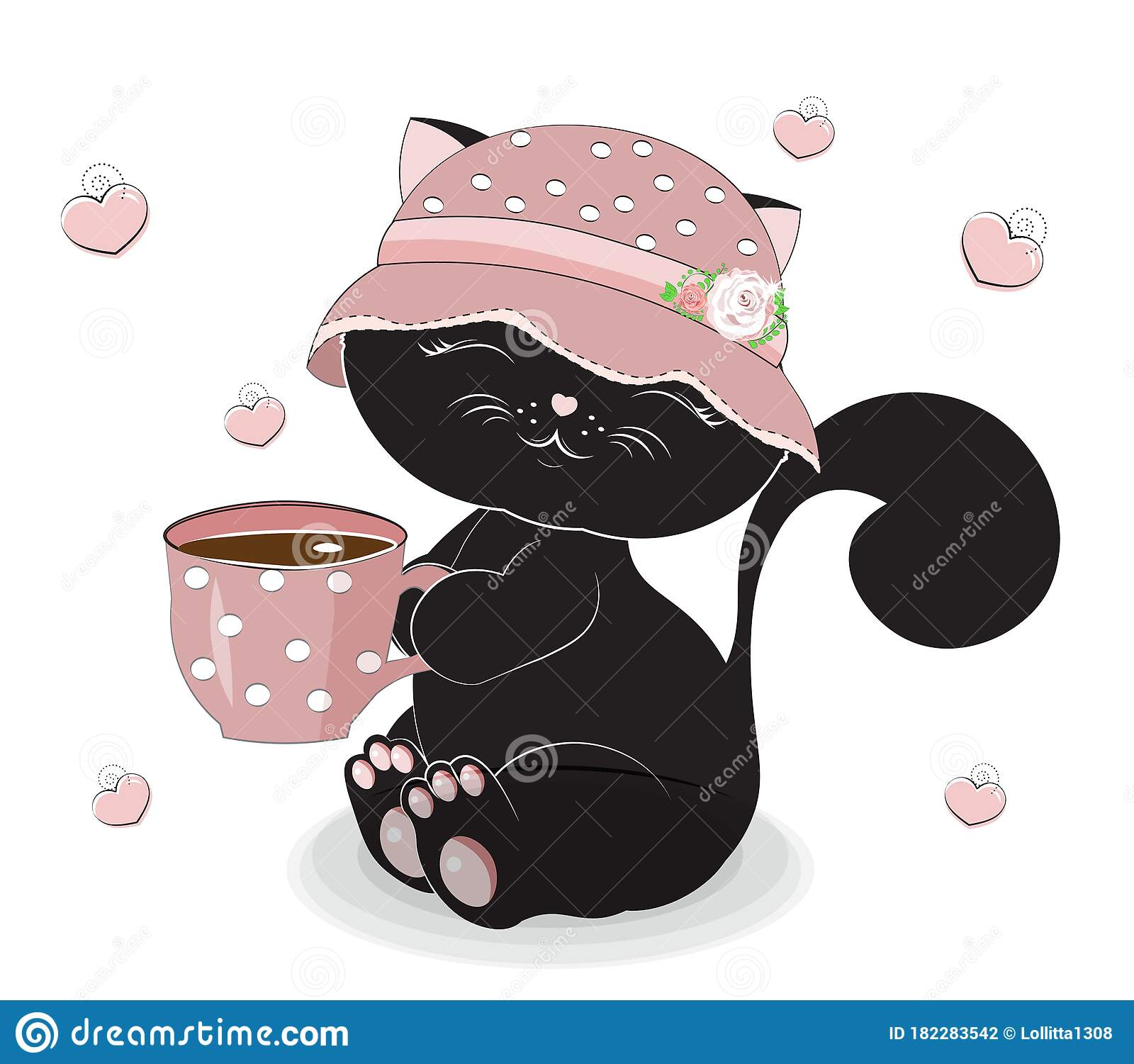 Black Cat In Cap With Cup Stock Vector Illustration Of Backgrounds 182283542