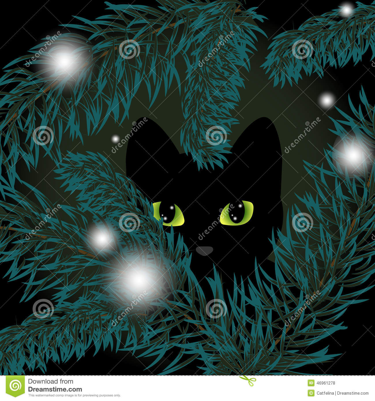Christmas Tree Made Of Black Cats: Black Cat In A Christmas Tree Stock Vector