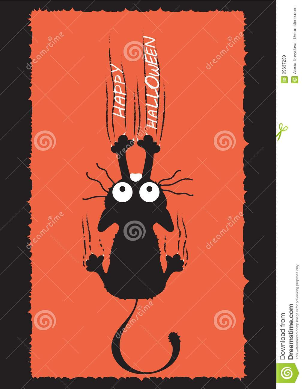 A black cat climbs the wall and leaves scratches. The idea for Halloween. Greeting card.