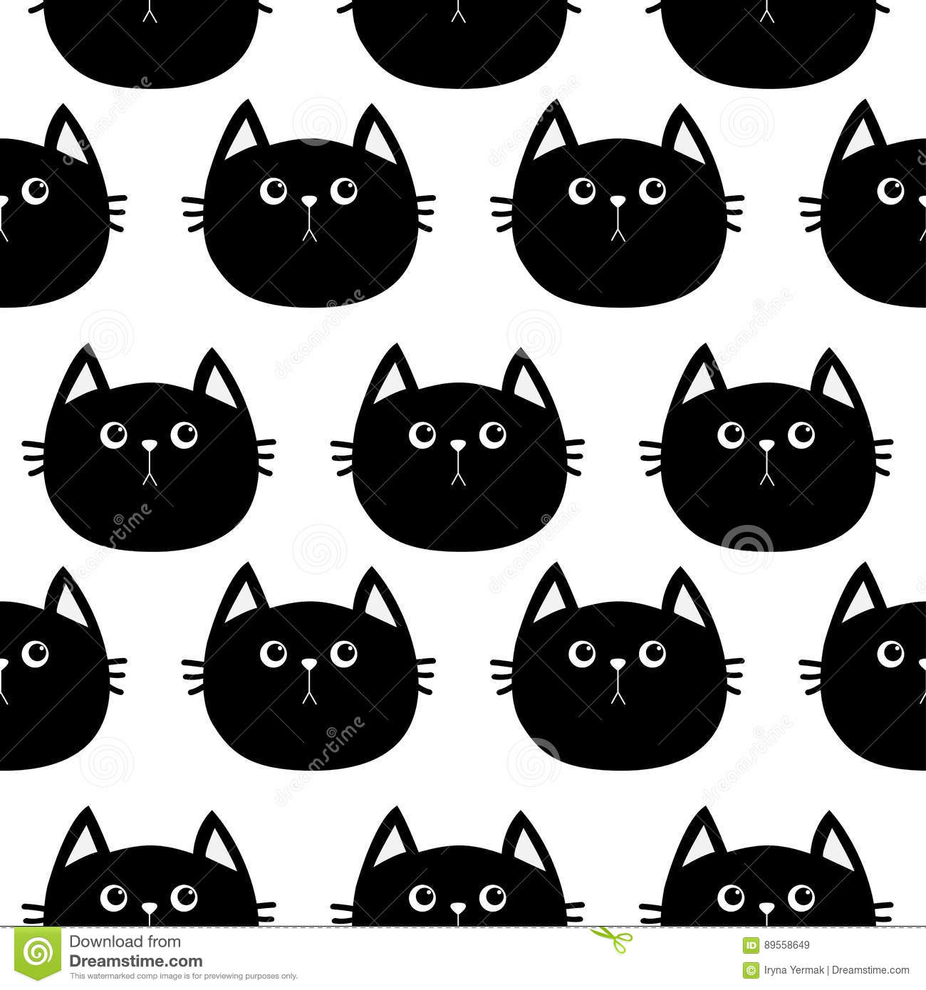 black cat cute cartoon character baby pet collection seamless