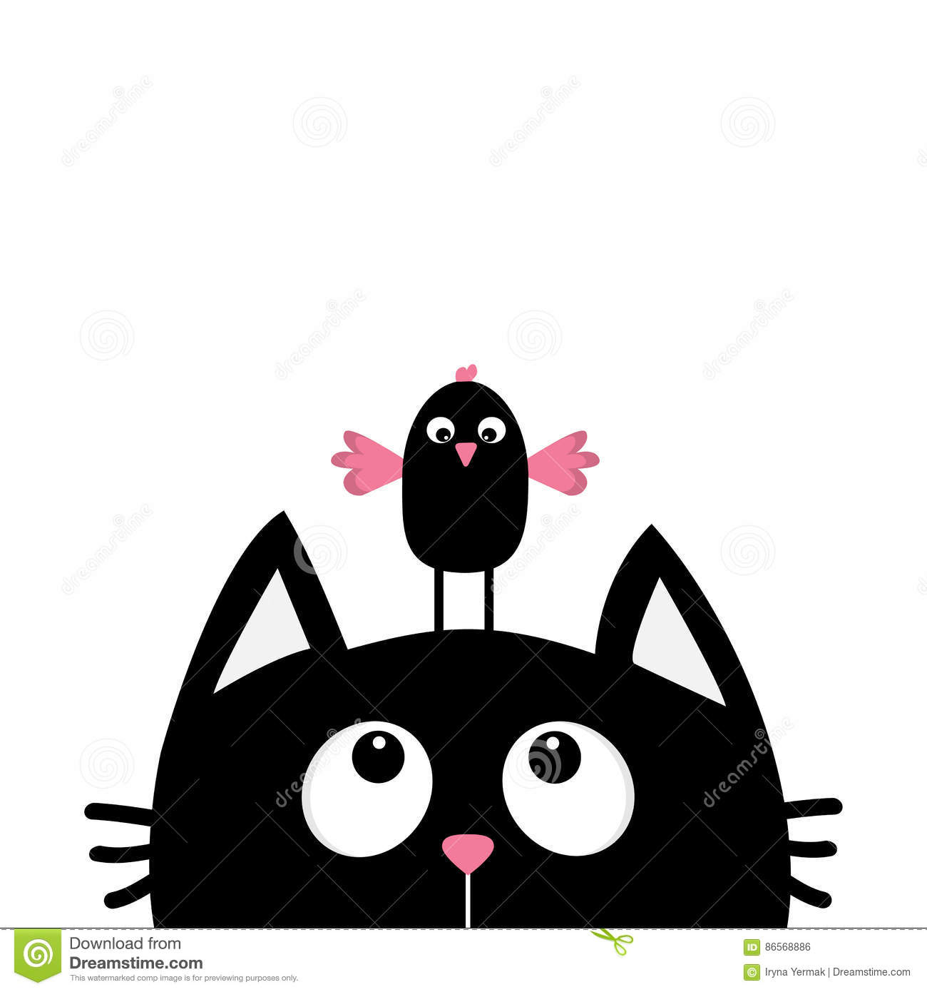 Black Cat Face Head Silhouette Looking Up To Funny Bird Cute