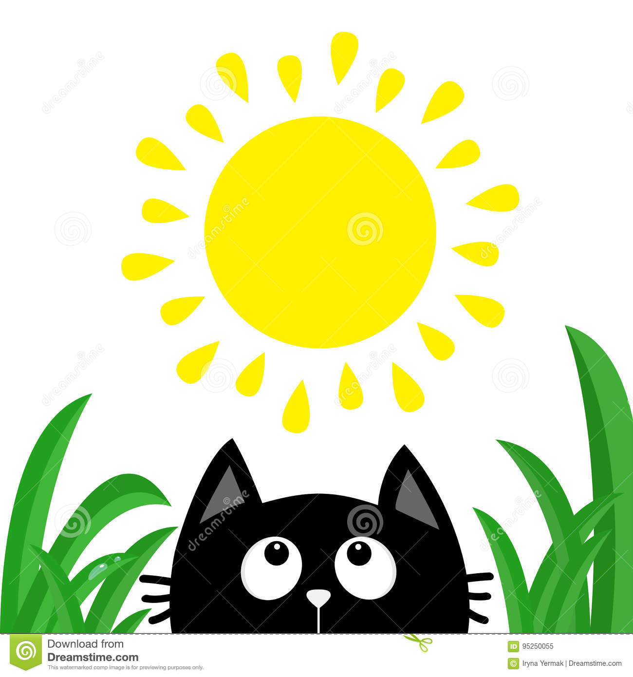black cat face head silhouette looking up to sun shining green rh dreamstime com Grass Clip Art Grass Silhouette Vector Free