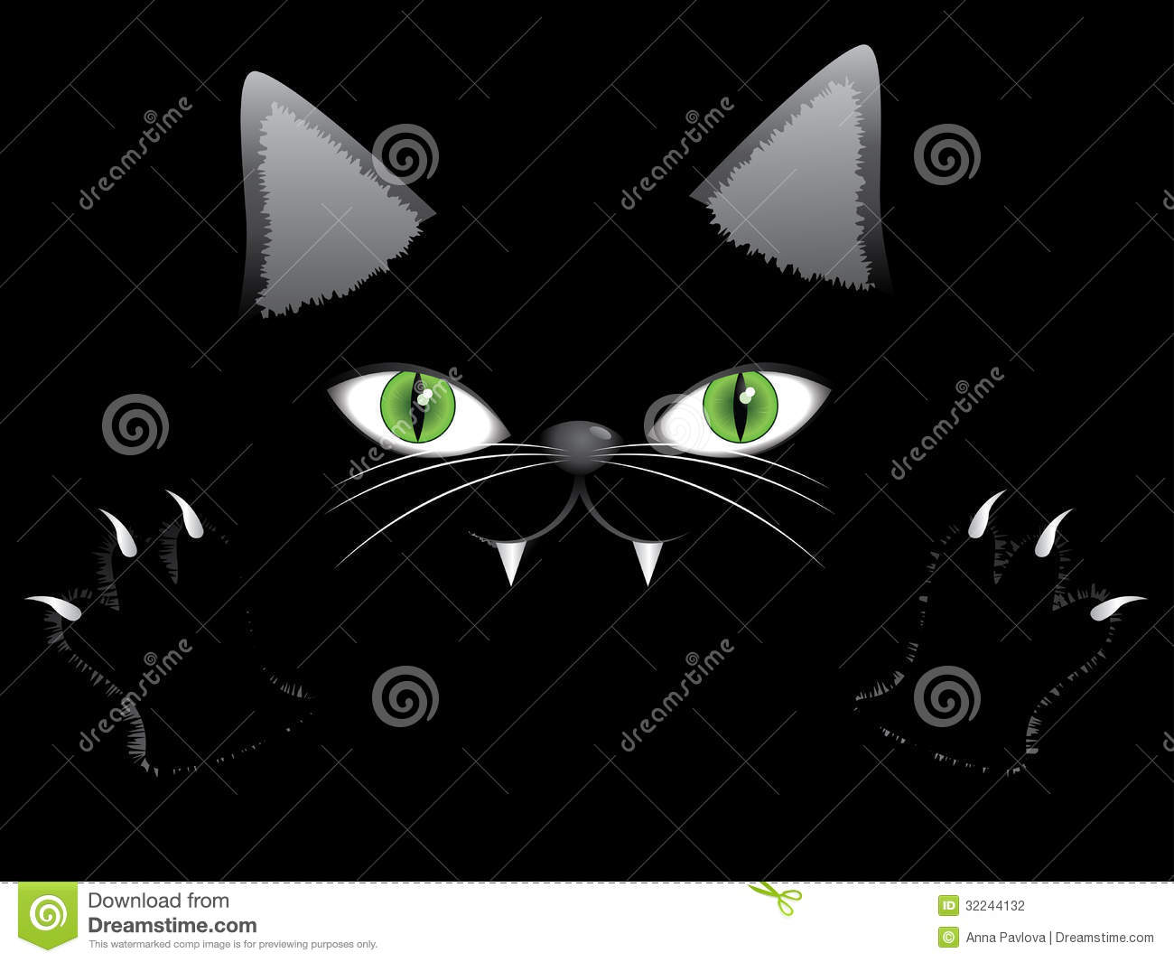Cartoon halloween cat face with green eyes and paws on black ...