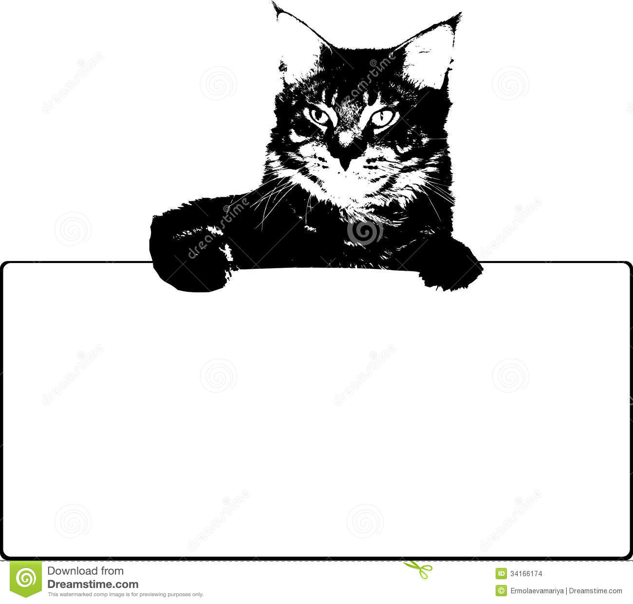 Black Cat With Frame. Vector Stock Vector - Illustration of heart ...