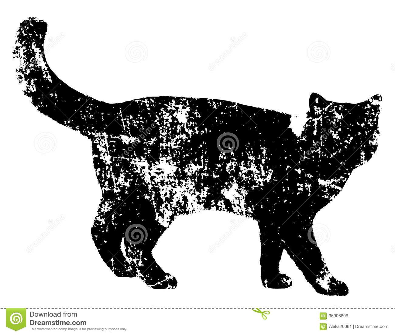 Black Cat Grunge Template Drawing On Old Rough Wall Texture Black