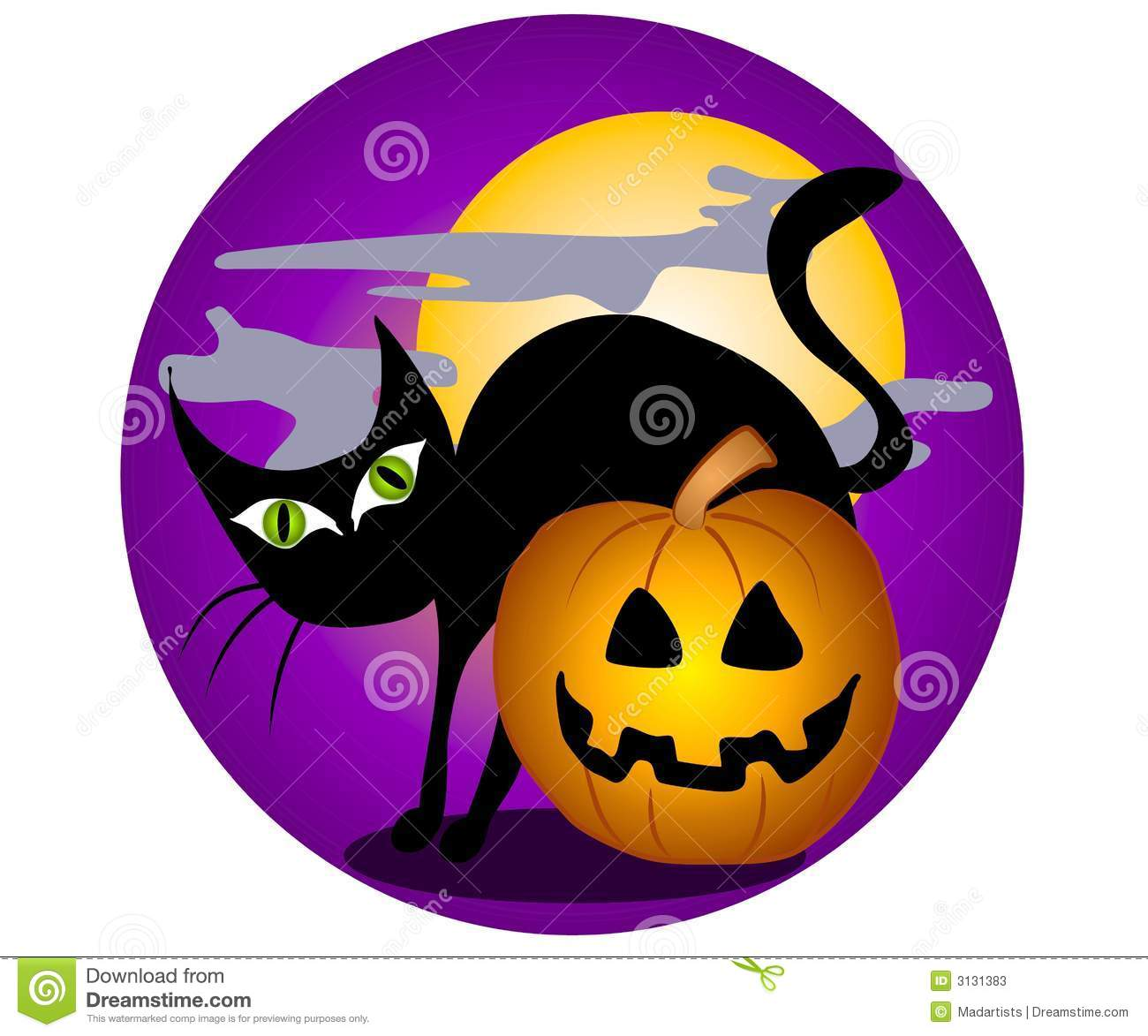 clip art illustration of a black cat with big green eyes, back ...
