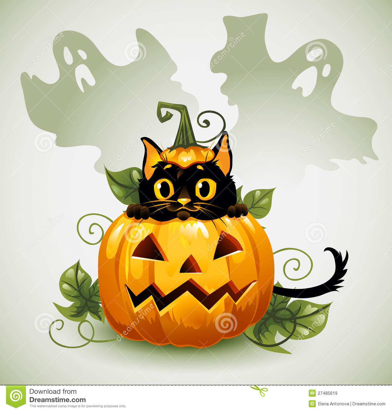 Black Cat In A Halloween Pumpkin And Ghost. Stock Vector ...