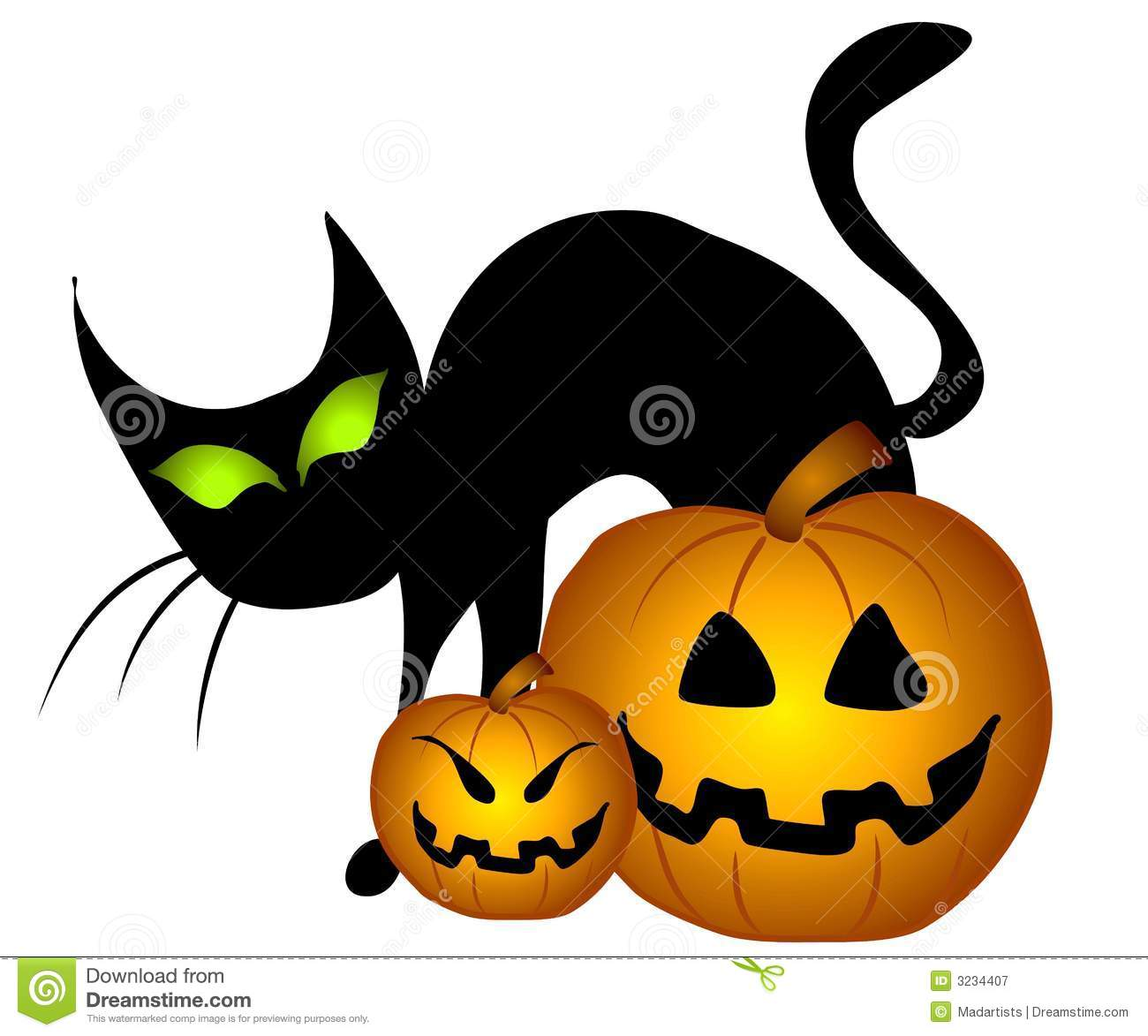 Black Cat Halloween Pumpkins Stock Illustration - Illustration of ...
